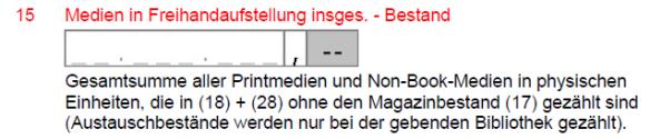 Feld 15 Medien in Freihandaufstellung insges. - Bestand